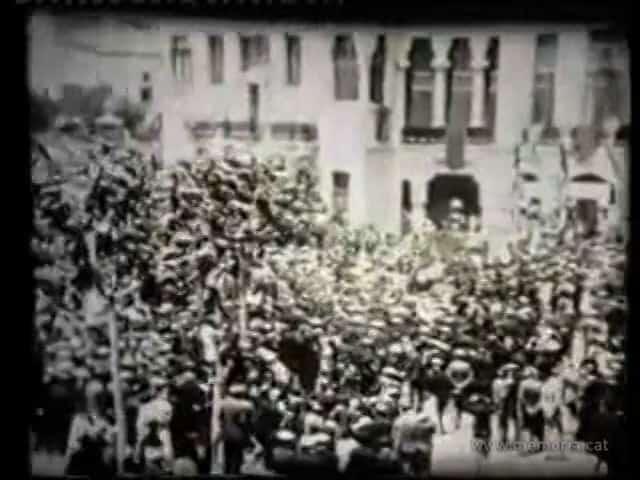Visita del rei Alfons XIII a Manresa. Imposició de les insígnies de Capità Generala les banderes del Bruc